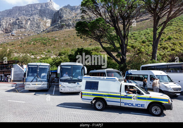 Cape Town South Africa African Table Mountain National Park Tafelberg Road Aerial Cable car Cableway Tramway lower - Stock Image