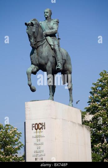 foch equestrian statue at trocadero - Stock Image
