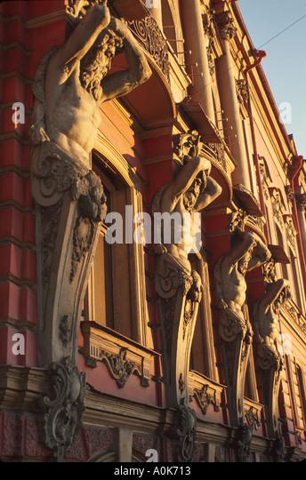 Russia former Soviet Union St. Petersburg ornate columns on building near Nevsky Prospeckt - Stock Image