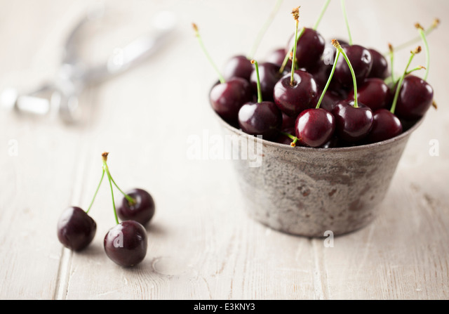 Engilsh Cherries in Metal Bowl - Stock Image