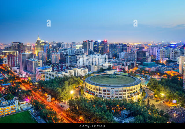 Beijing, China cityscape over Workers Indoor Arena in Chaoyang District. - Stock Image