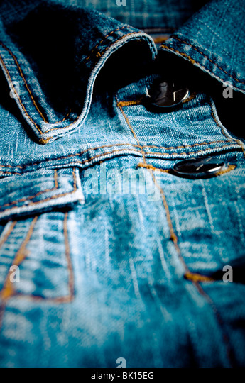 blue jeans closeup detail - Stock Image