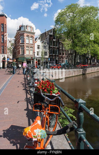 Amsterdam Single Gracht bicycle with tulips Amsterdam, Netherlands - Stock Image
