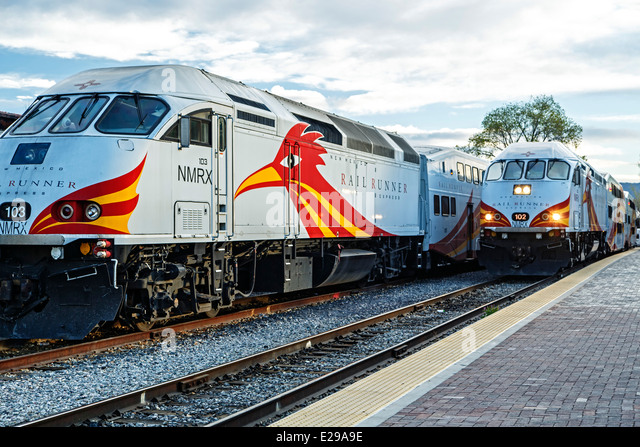 Railrunner Express commuter trains, Santa Fe Railyard, Santa Fe, New Mexico USA - Stock Image