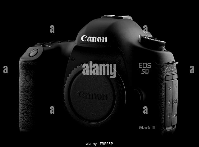 Canon 5D Mark III DSLR on a Black  Background - Stock Image