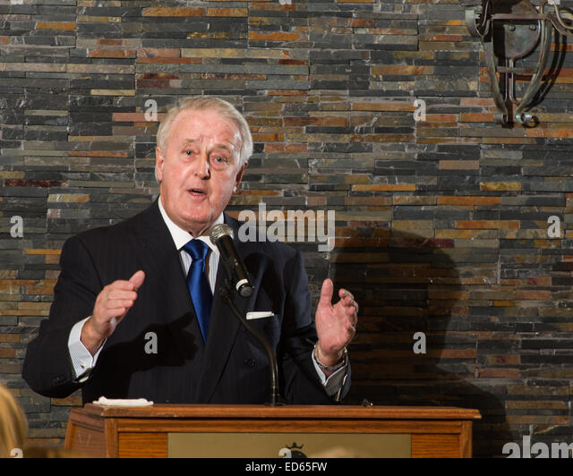 The Right Honourable Brian Mulroney as guest speaker at a fundraising dinner, 2014-10-09. - Stock Image