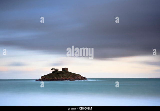 Dusk at Portelet, Jersey, Channel Islands - Stock Image