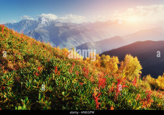 Sunset over snow-capped mountain peaks. - Stock Image