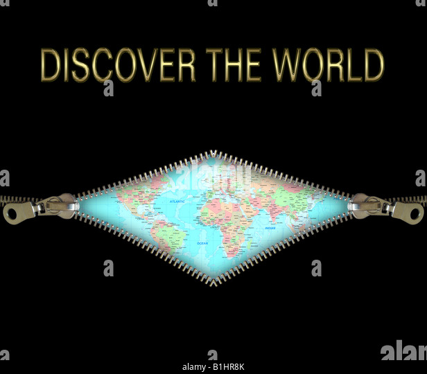 Zipper concept: discover the world. Education, science, researching, astronomy, planetary - Stock Image