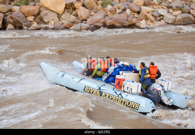 People on white water rafting tour, Colorado River, Moab, Utah, United States - Stock Image