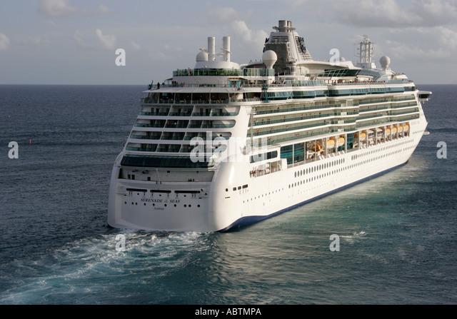 Sint Maarten Dutch Philipsburg Caribbean Sea Serenade of the Seas cruise ship departs - Stock Image