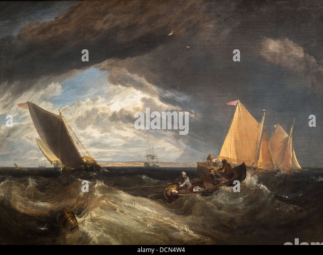 19th century  -  The Junction of the Thames and the Medway, 1807 - Joseph Mallord Willam Turner - Stock Image
