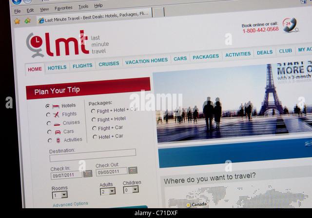 last minute online travel booking website - Stock-Bilder