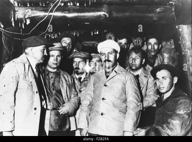 Soviet workers building the Moscow subway are visited by Communist Party leaders. March 26, 1934. In the center - Stock-Bilder