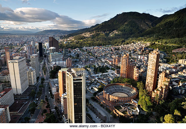 Panoramic view of Bogotá, the capital of Colombia, of the Avenida Carrera Septima with the bullring Santa Maria. - Stock Image