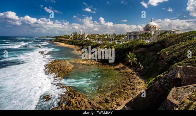 Capitol Of Puerto Rico By Sea Against Sky - Stock Image