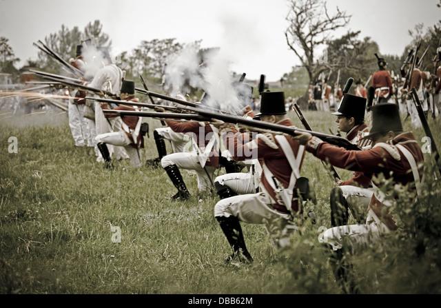 Canada,Ontario,Stoney Creek, War of 1812, Battle of Stoney Creek, British troops firing muskets - Stock Image