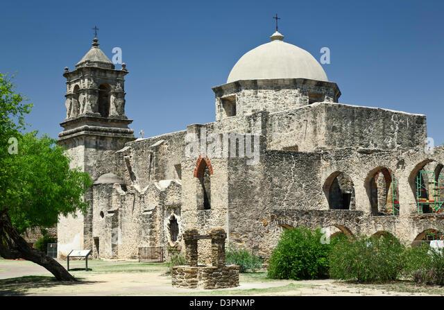Mission San Jose y San Miguel de Aguayo (1782), San Antonio Missions National Historical Park, San Antonio, Texas - Stock Image