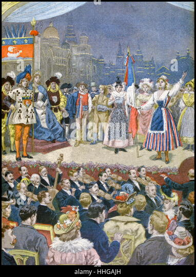 Illustration showing a theatrical performance at the Exposition Universelle of 1900. - Stock Image