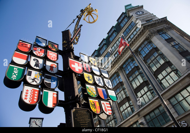 Cantonal tree of Swiss cantons at Swiss Court, Leicester Square, London - Stock Image