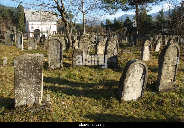 5518. Ancient Jewish cemetery in Vatra Dornei, Romania - Stock Image