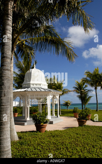 Tropical tropics white wedding gazebo under palm trees beside greenish blue ocean water - Stock Image