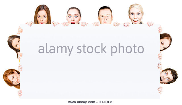 Blank signboard ringed with diverse enthusiastic young people lending their support and approval to a product or - Stock Image