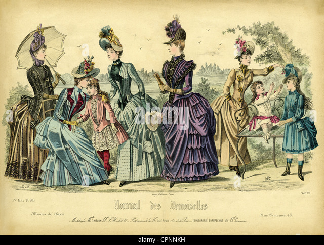 fashion, Paris fashion, women and children, out of the fashion magazine 'Journal des Demoiselles', France, - Stock Image