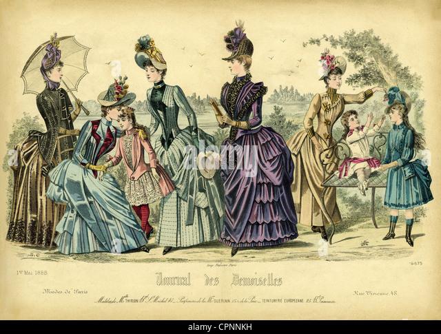 fashion, Paris fashion, women and children, out of the fashion magazine 'Journal des Demoiselles', France, - Stock-Bilder
