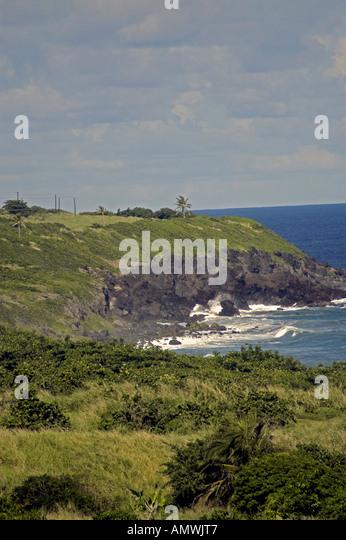 St Kitts Black Rocks landmark geology Atlantic coast - Stock Image