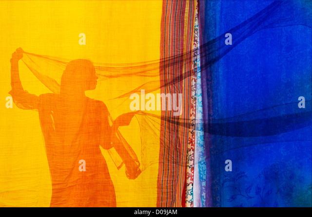 Indian girl with veils silhouette. Colourful montage - Stock Image