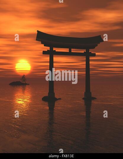 Japanese Floating Torii Gate at a Shinto Shrine, Sunset - Stock Image