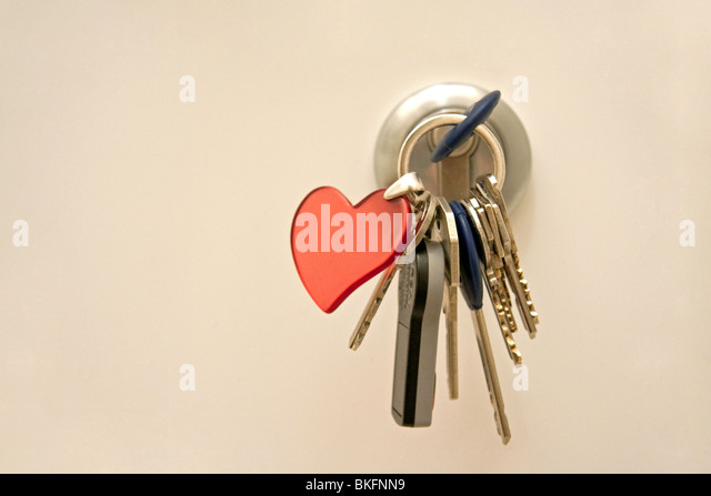 Door lock with key chain - Stock Image