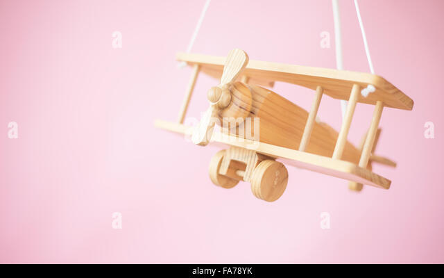 Picture of the nice wooden toy plane - Stock Image