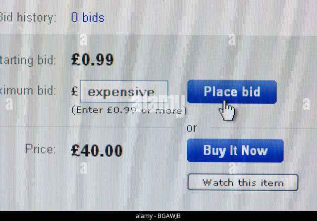 screenshot of word expensive typed into the place bid window on ebay online auction website for editorial use only - Stock Image