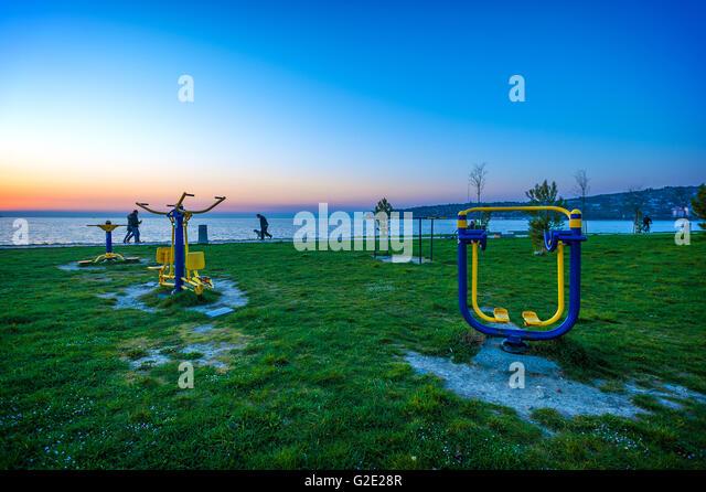 Slovenia Coast and Kars Seča Beach sports gear - Stock Image