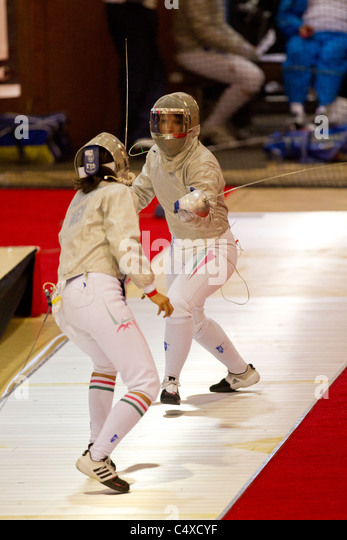 Competitors at the 2011 New York Saber World Cup. - Stock Image