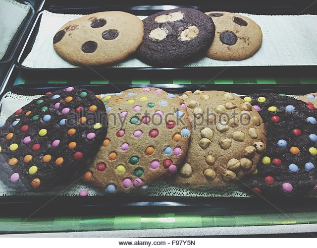 High Angle View Of Cookies Served In Tray - Stock-Bilder