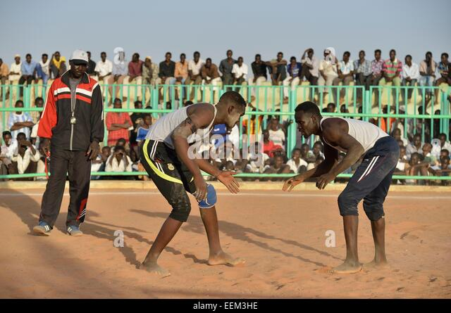Nuba fighting, Nuba Wrestling, Haj Yusef district, Kharthoum, Sudan - Stock Image
