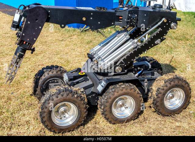 bomb disposal robot unit used by the Army to defuse bombs - Stock Image