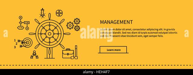 Icons for management, business tools in flat design. Poster banner on yellow. Management and marketing, lead and - Stock-Bilder