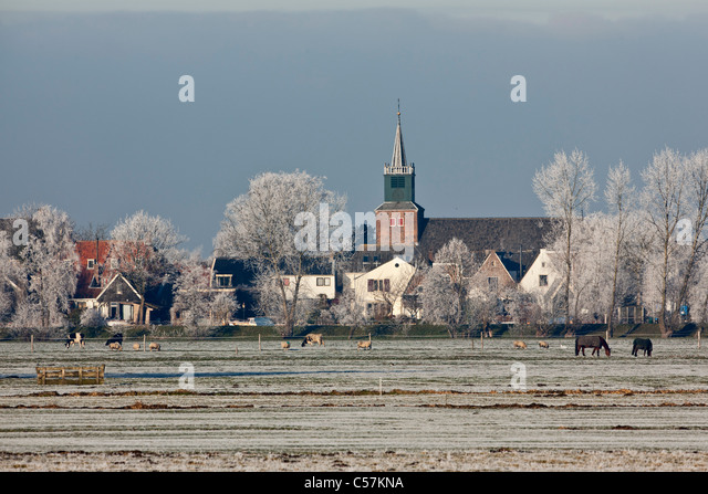 The Netherlands, Nigtevecht, panoramic view on village. Winter. - Stock Image