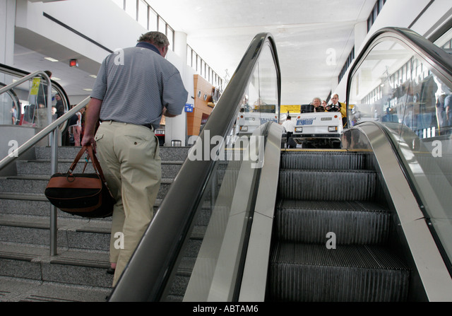 New Jersey Newark Airport escalator steps - Stock Image