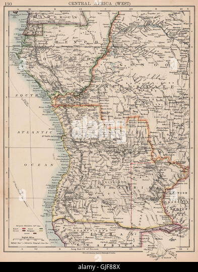 COLONIAL CENTRAL AFRICA. French Congo Free State Portuguese West Africa 1906 map - Stock-Bilder