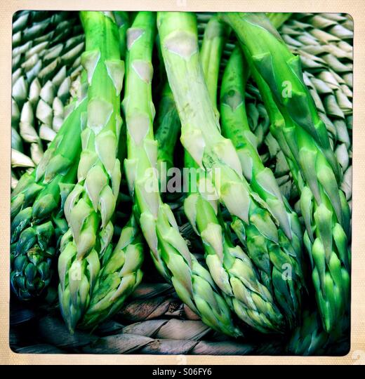 Asparagus on a table mat - Stock Image