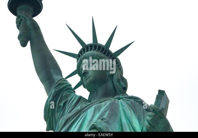 Freiheitsstatue Statue of Liberty New York Manhatten USA Architektur Wahrzeichen Beruehmt Amerika Attraktion Crown - Stock-Bilder