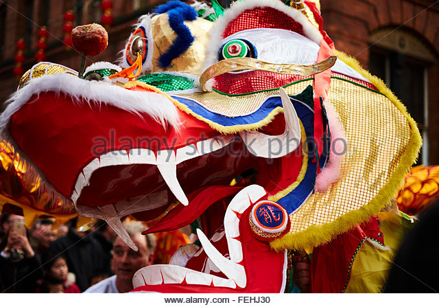 Chinese New Year celebrations in Manchester. Dragon's head. - Stock Image