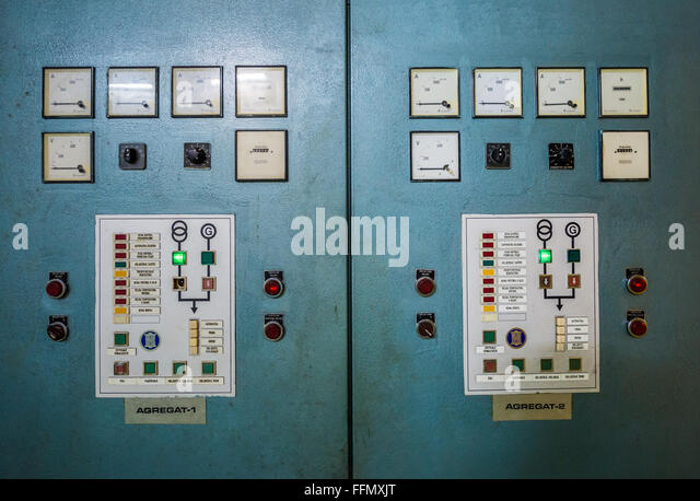 Control panel of generators in bunker of Josip Tito, leader of former Yugoslavia, near Konjic, Bosnia and Herzegovina - Stock Image