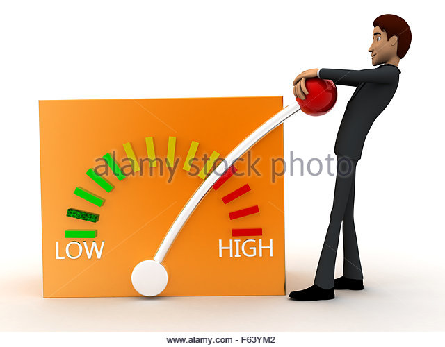 3d man elevating a lever from low to high concept on white isolated background - 3d rendering , front angle  view - Stock Image