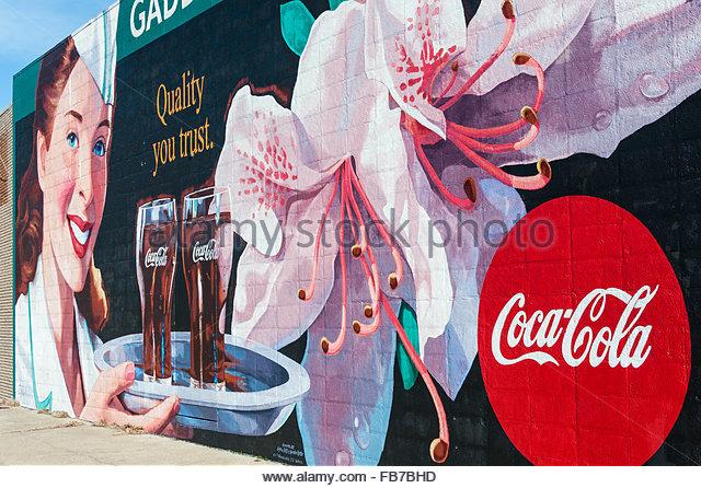 Coca cola building stock photos coca cola building stock for Coca cola wall mural